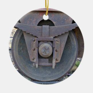 Railcar wheel christmas ornament