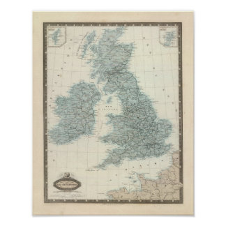 Railroad and Canals of British Isles Poster