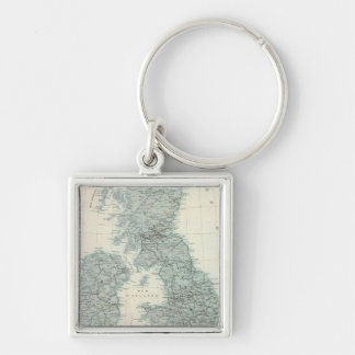 Railroad and Canals of British Isles Silver-Colored Square Key Ring