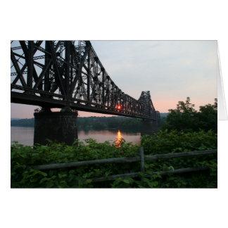 Railroad Bridge at Sunset Card