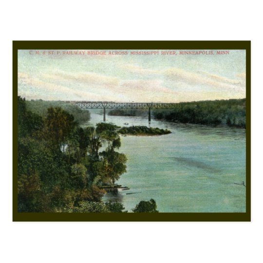 Railroad Bridge, Minneapolis MN Vintage Postcard