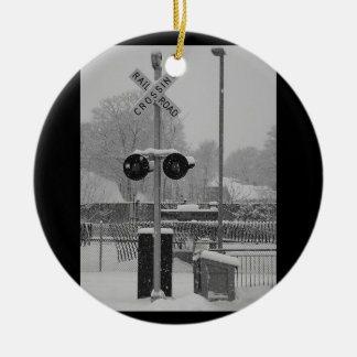 Railroad Crossing (b&w) Christmas Ornament