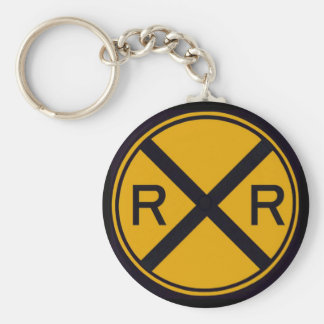 Railroad Crossing Basic Round Button Key Ring