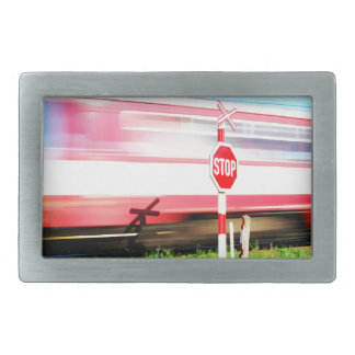 Railroad crossing belt buckles