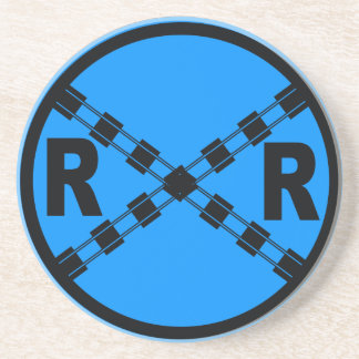 Railroad Crossing Highway Road Sign Coaster