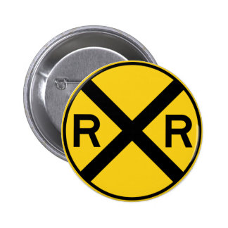 Railroad Crossing Highway Sign 6 Cm Round Badge