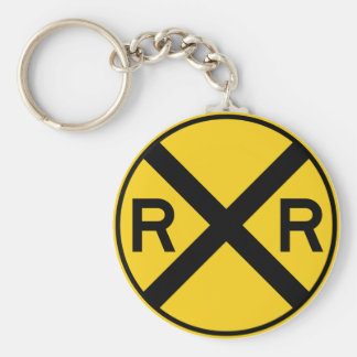 Railroad Crossing Highway Sign Basic Round Button Key Ring
