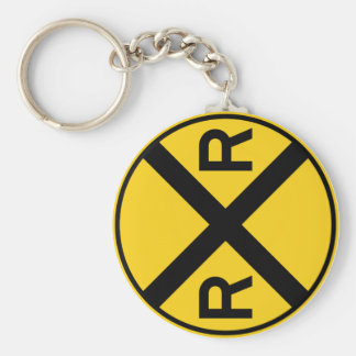 Railroad Crossing Highway Sign Key Ring