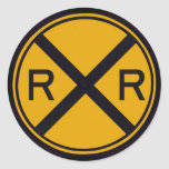 Railroad Crossing Round Sticker