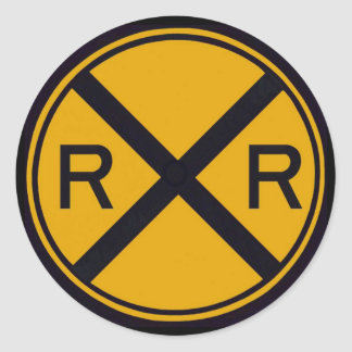 Railroad Crossing Round Sticker