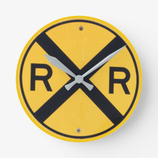 Railroad Crossing Sign Round Clock