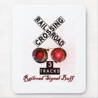 Railroad Crossing Signal Buff Mouse Mat