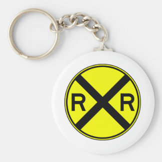 Railroad Crossing Warning Street Sign Train Basic Round Button Key Ring