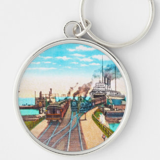 Railroad Ferry Docks, Mackinaw, Michigan Silver-Colored Round Key Ring