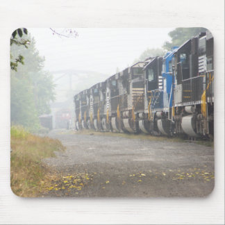 Railroad Locomotives In The Mist Mouse Mat