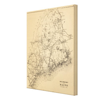 Railroad map of Maine Canvas Print