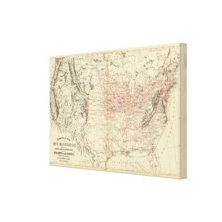 Railroad map US Canvas Print