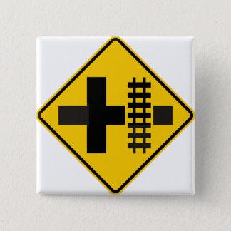 Railroad Parallels Main Road at Crossroad Sign 15 Cm Square Badge