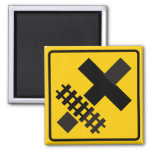 Railroad Parallels Main Road at Crossroad Sign Square Magnet