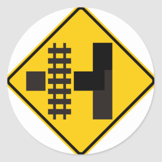 Railroad Parallels Main Road at Side Road Sign Round Stickers