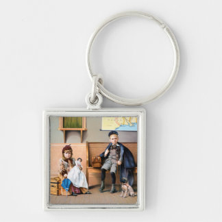 RAILROAD POSTER, 1898 Silver-Colored SQUARE KEY RING
