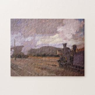 Railroad Station at Argenteuil Monet Fine Art Jigsaw Puzzle