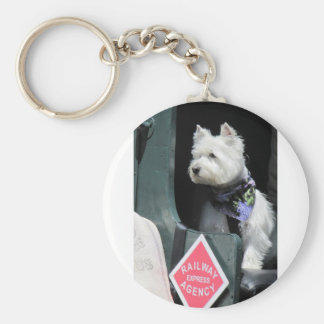 Railroad Terrier Dog Basic Round Button Key Ring