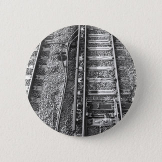 Railroad Tracks, Black and White Picture. 6 Cm Round Badge
