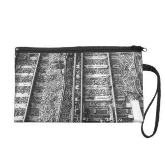 Railroad Tracks, Black and White Picture. Wristlet