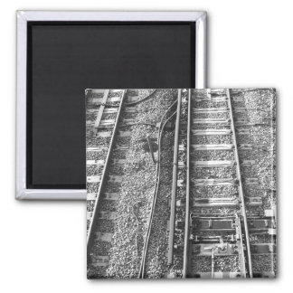 Railroad Tracks, Black and White Picture. Magnet