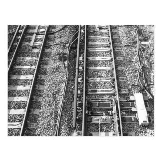 Railroad Tracks, Black and White Picture. Postcard