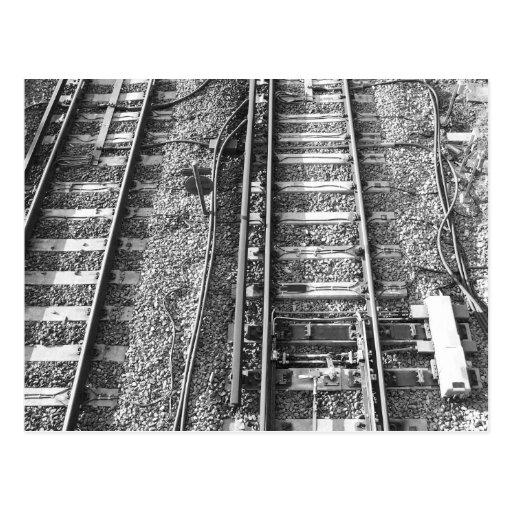 Railroad Tracks, Black and White Picture. Postcard