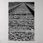 Railroad tracks black and white poster