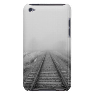 railroad tracks fade into the morning fog iPod touch case