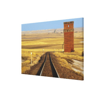 Railroad tracks lead to old granary at Collins Canvas Print