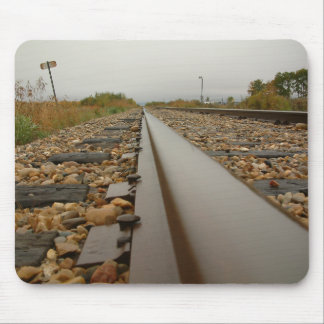 Railroad Tracks on a Rainy Day Mouse Pad