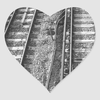 Railroad Tracks Picture. Heart Sticker