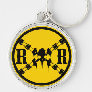 Railroad Traffic Sign Crossing Silver-Colored Round Key Ring