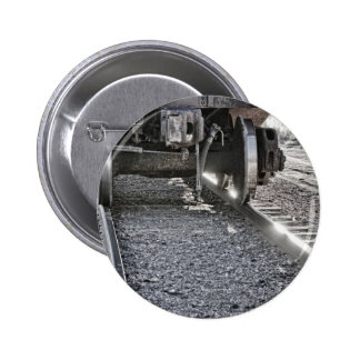 Railroad Train Car Wheels Hitting the Tracks 6 Cm Round Badge