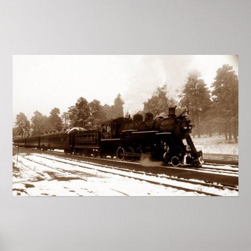 Railroad Train Locomotive In Snowy Winter Scene Poster