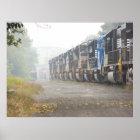 Railroad Train Locomotives In The Mist Poster