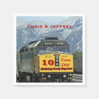 Railroad Train Paper Napkins, Twins 10th Birthday Disposable Serviette