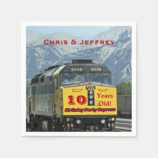 Railroad Train Paper Napkins, Twins 10th Birthday Disposable Serviettes