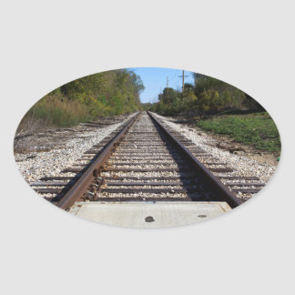 Railroad Train Tracks Photo v2 Oval Sticker