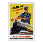 Railroads Are The First Line Of Defence -- WW2 Poster