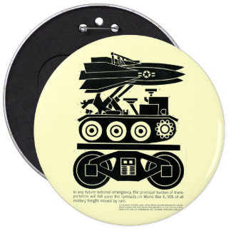 Railroads Moved 90% of all Freight in World War 2 6 Cm Round Badge