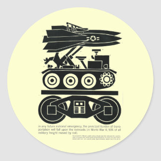Railroads Moved 90% of all Freight in World War 2 Classic Round Sticker