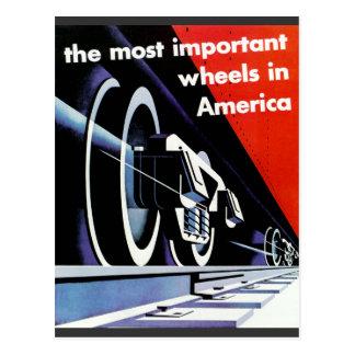 Railroads-The Most Important Wheels in America Postcard