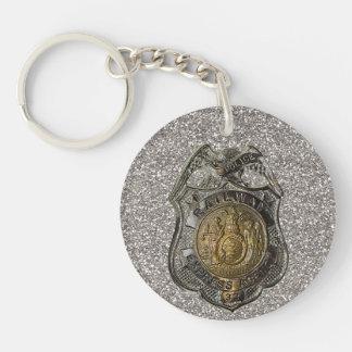 Railway Express Police Badge Double-Sided Round Acrylic Key Ring