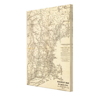 Railway map New England States Canvas Print